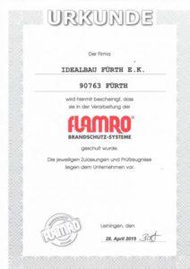 Zertifikat Flamro Brandschutz-Systeme