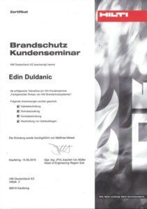 Zertifikat Hilti Brandschutz